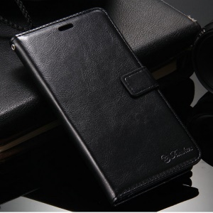 Crazy Horse Leather Wallet Stand Phone Case for Xiaomi Redmi Note 3/Note 3 Pro - Black