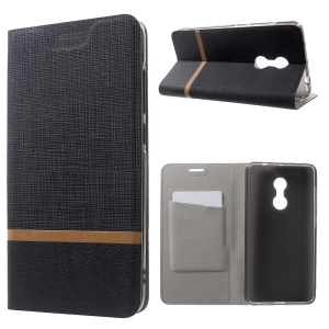Cross Texture Leather Card Slot Stand Case for Xiaomi Redmi Note 4 - Black