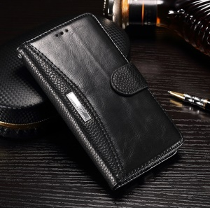Litchi Grain Splicing Leather Case with ID/Credit Card Slots for Xiaomi Redmi Note 4 - Black