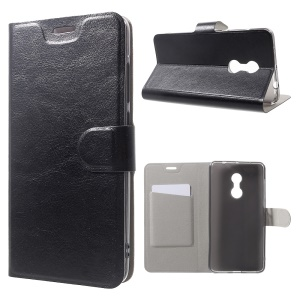 Crazy Horse Leather Stand Card Slot Case for Xiaomi Redmi Note 4 Built-in Steel Sheet - Black