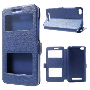 Silk Texture Leather Stand Phone Casing for Xiaomi Redmi 4a - Blue