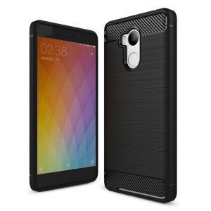 Carbon Fiber Brushed TPU Drop-proof Phone Case for Xiaomi Redmi 4 Prime / Pro - Black