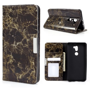 Marble Grain Leather Wallet Phone Stand Case for Xiaomi Mi 5s Plus - Black