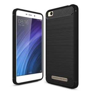 Carbon Fibre Brushed TPU Case for Xiaomi Redmi 4a - Black