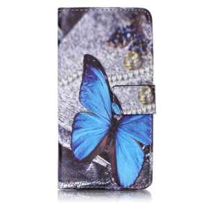 Patterned Wallet Mobile Cover Leather Case for Xiaomi Redmi 3s - Blue Butterfly