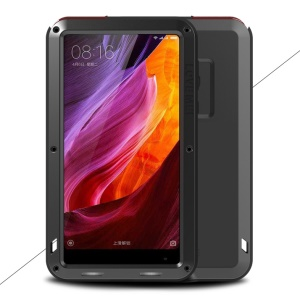 LOVE MEI for Xiaomi Mi Mix Powerful Mobile Case Metal + Silicone + Tempered Glass Materials Drop-proof Shockproof Dust-proof - Black