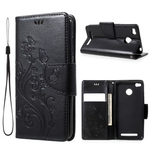 Imprinted Butterfly Flowers Leather Wallet Case for Xiaomi Redmi 3 Pro - Black
