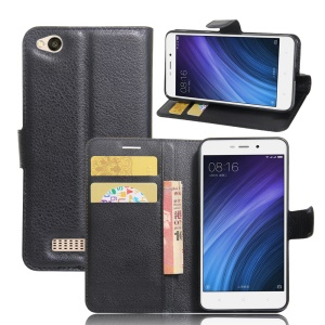 Lychee Skin Wallet Leather Stand Case for Xiaomi Redmi 4a - Black