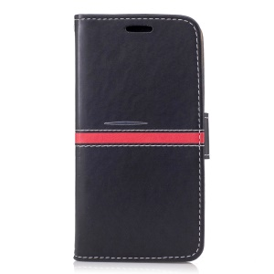 For Xiaomi Redmi 3s Graceful Stitching Wallet Leather Phone Case with Stand - Black