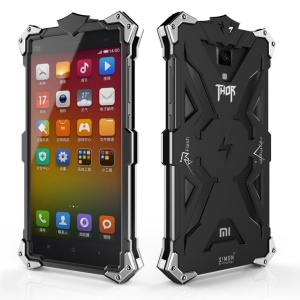 For Xiaomi Mi 4 Punk Rock Armor Aviation Aluminum Metal Phone Case Cover - Black
