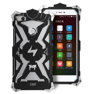 For Xiaomi Mi 4S Punk Rock Aviation Aluminum Metal Armor Mobile Back Case - Black