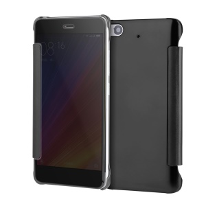 Plated Mirror Surface PC Leather Smart Flip Casing for Xiaomi Mi 5s - Black