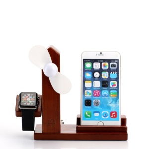 Wooden Phone Holder Docking Stand with USB Fan and 3 USB Ports for Smartphone Apple Watch