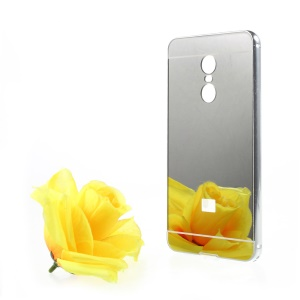 Slide-on Plating Metal Frame + Mirror-like PC Phone Case for Xiaomi Redmi Note 4X - Silver