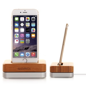SAMDI Bamboo and Aluminum Alloy Desktop Mount Charging Stand for iPhone 7 Plus, 6, 5 etc. - Silver Color