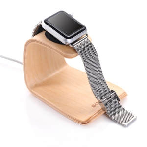 SAMDI Real Wood U-shaped Charging Stand Desktop Mount for Apple Watch, iPhone etc. - White Birch