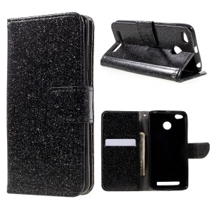 Glittery Smooth Leather Wallet Phone Case for Xiaomi Redmi 3 Pro - Black