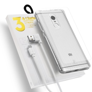 DUX DUCIS Skin Pro 3-in-1 Series for Xiaomi Redmi Note 4 TPU Case + Micro USB Charge Cable + Tempered Glass Screen Film
