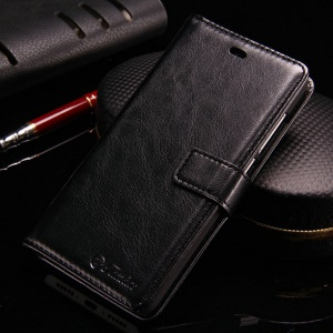 TOMKAS Crazy Horse Leather Wallet Case for Xiaomi Redmi 4 Prime / 4 Pro - Black