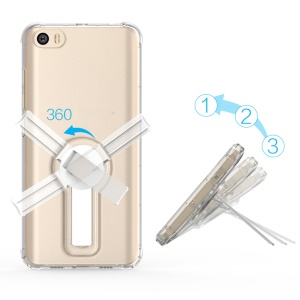 BOW Shock Absorption Soft TPU Cover with ABS Kickstand for Xiaomi Mi 5 - Transparent