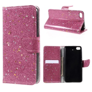 Mobile Accessory Flash Powder Leather Wallet Flip Cell Phone Case for Xiaomi Mi 5s - Rose