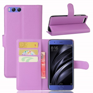 Lychee Skin Wallet Leather Protective Case for Xiaomi Mi 6 - Purple