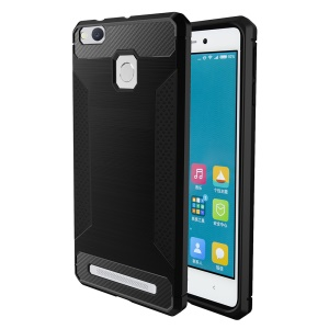 For Xiaomi Redmi 3/3s/3pro/3x Carbon Fibre Texture Non-slip Brushed Thin TPU Phone Casing - Black