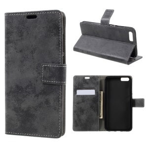 Vintage Wallet Leather Mobile Phone Shell for Xiaomi Mi 6 Plus - Grey
