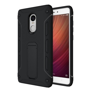 Supporting Kickstand PC + TPU Hybrid Mobile Cover for Xiaomi Redmi Note 4 - Black