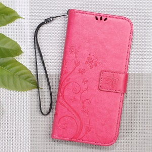 Butterfly Flower Imprinted Leather Wallet Casing with Stand for Xiaomi Redmi Note 4 - Rose