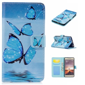 Pattern Printing Leather Wallet Case for Xiaomi Redmi 3s - Blue Butterfly