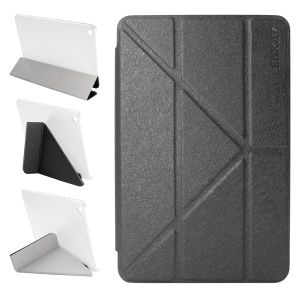 ENKAY Auto-Wake / Sleep Silk Texture Origami Stand PU Leather Case for Xiaomi Mi Pad 2 / 3 7.9-inch - Black