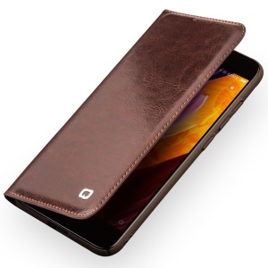 QIALINO Classic Genuine Cowhide Leather Card Holder Phone Cover for Xiaomi Mi 6 - Brown