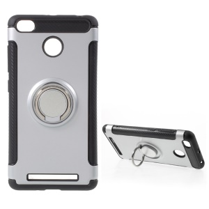 Magnetic Ring TPU PC Hybrid Case with Kickstand for Xiaomi Redmi 3s - Silver