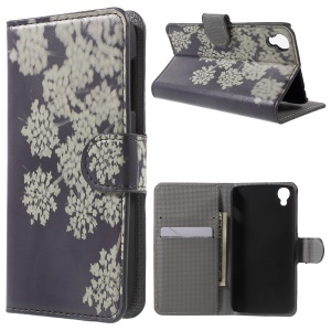 PU Leather Card Holder Cover for Alcatel OneTouch Idol 3 (4.7) - White Flowers