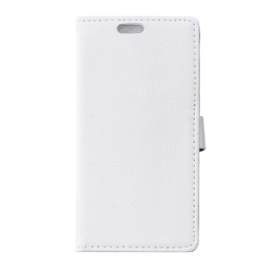 Litchi Grain Flip Leather Stand Cover for Alcatel OneTouch Pop Up - White
