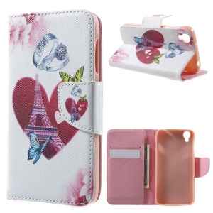 Wallet Leather Stand Phone Case for Alcatel OneTouch Idol 3 (4.7) - Heart & Ring & Eiffel Tower