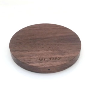YA002 10W Walnut Wood Wireless Fast Charger Qi Wireless Charging Pad for iPhone X/8/8 Plus etc.