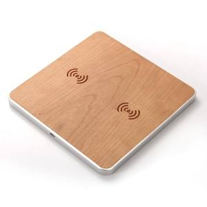 Universal Wooden 2 Phones Qi Wireless Charging Pad for iPhone X/8/8 Plus, Samsung Note 8/S8 etc. - Silver Color