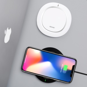 USAMS US-CD29 Sedo Series Wireless Fast Charging Pad Desktop Charger for iPhone X/Samsung Galaxy S8 - White