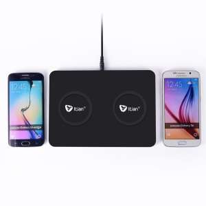 ITIAN Q300 Dual Qi Wireless Charger Charging Pad for iPhone 8/8 Plus/Samsung Galaxy S8/S8+/Note5 S6/S6 edge+/ LG G4 etc. - EU Plug