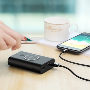 USAMS US-CD31 Wish Series Qi Wireless Charging Power Bank 8000mAh with Micro USB Cable - Black