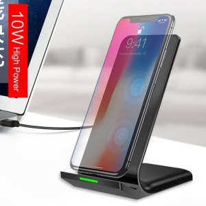 Dual Coil Qi Wireless Charging Pad Stand for iPhone X/8/8 Plus/Samsung Galaxy Note8/S8/S7/S6 Etc. - Black