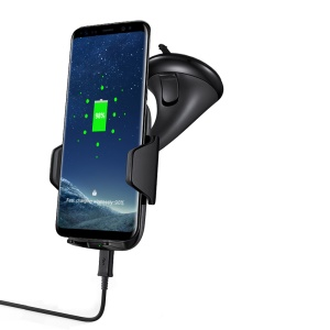 GY-A10 Suction Cup Car Mobile Phone Holder Qi Wireless Charger for iPhone X/8 Plus/8 Etc.