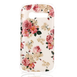 Slim TPU IMD Cover for Alcatel One Touch Pop C5 OT-5036D OT-5036X - Seamless Peony Flowers