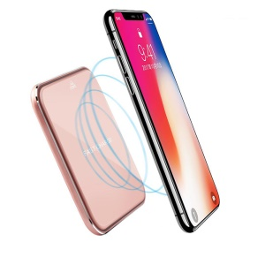 Ultra-thin 10W Qi Wireless Charger Mat with Mirror Surface for iPhone X/8/8Plus, Samsung Note 8 etc. - Pink