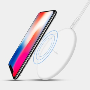 N5 Frosted Surface Ultra-thin Fast Wireless Charge Pad with Light Indicator for iPhone X/8/8 Plus etc. - White