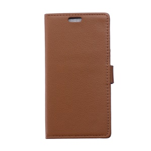Litchi Leather Wallet Case for Alcatel One Touch Pop 3 5.0 - Brown
