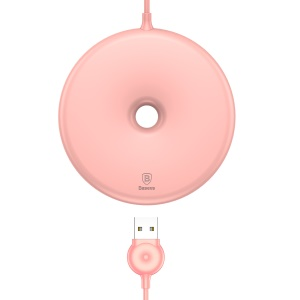 BASEUS Donut Qi Wireless Charger Round Wireless Charging Pad for iPhone X, Samsung Note 8 Etc. - Pink