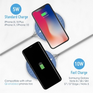 X10 10W Denim Surface Qi Wireless Fast Charger Mat for iPhone X/8/8Plus, Samsung Note 8/S8/S8 Plus